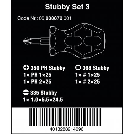 WERA Stubby set 3-Sleuf/Robertson(binnenvierkant)/Phillips