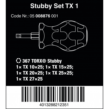 WERA Stubby set TX 1 schroevendraaierset TORX®